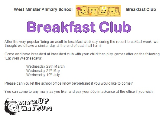 A5 Breakfast Club Letter - bring an adult days